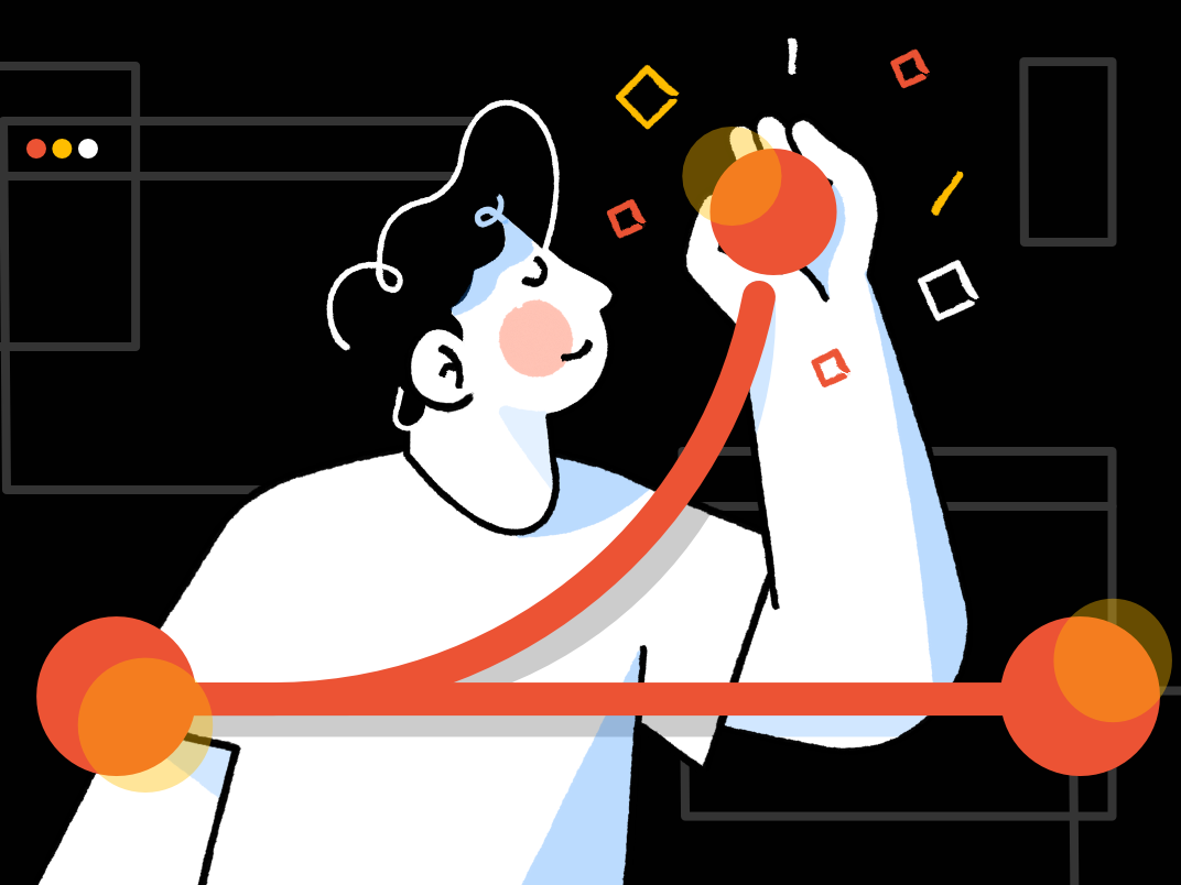 Git Branches - Blog post illustration dark git man affinity designer simple character illustration vector