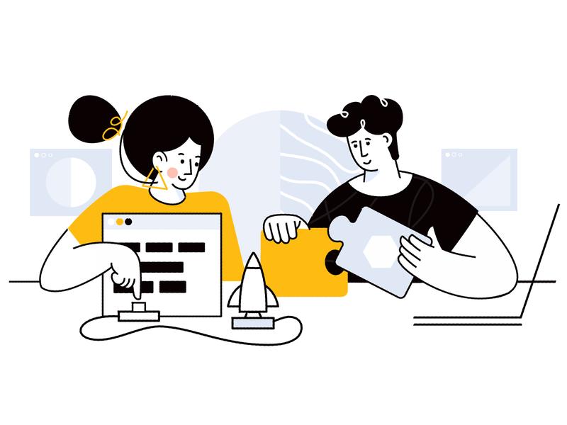 Teamwork build teamwork affinity designer character simple illustration vector