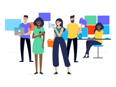 People works people developer office webpage affinity designer simple character illustration vector
