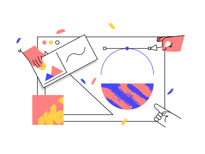Website Development - Illustration illustration simple hand building pattern vector pattern