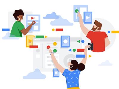 Google Cloud Identity - Illustration flat characters google colaboration cloud vector illustration
