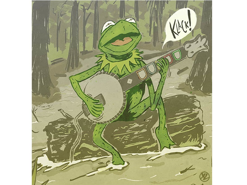 Rainbow Connection editorial design illustration swamp banjo guitarhero jimhenson kermit puppets muppets