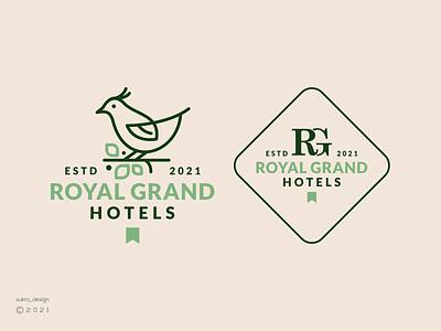 Royal Grand Hotels logo logomark logos logoinspiration brand clean elegant hotels line bird icon minimal graphic design logo design branding
