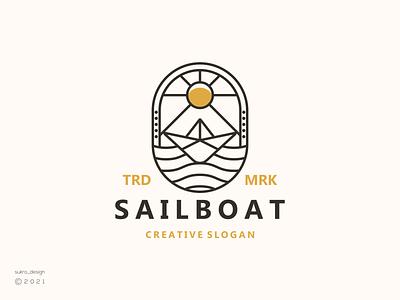 SailBoat logo elegant clean sea ocean tradenmark logomark logos sailboat line ux vector ui illustration icon minimal graphic design logo design branding