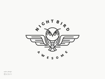 Night Bird logo simple clean animal night bird owl brand line ux vector ui illustration icon minimal graphic design logo design branding
