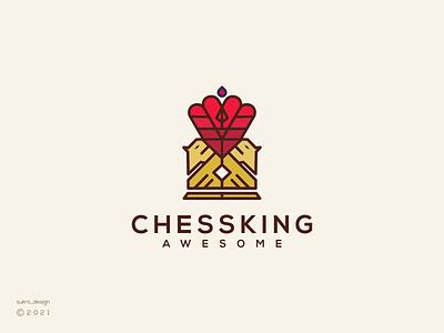 Chess King logo logomark logos line king chess ux ui vector illustration icon minimal graphic design logo design branding