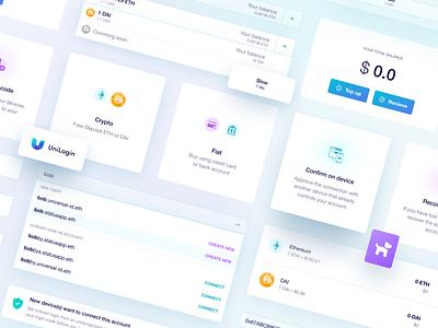 UniLogin UI elements web branding minimal ux crypto ethereum blockchain app ui design