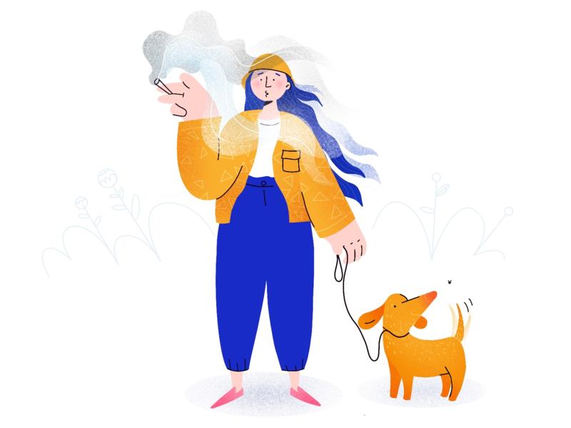 Walking the dog ethworks designer procreate web vector illustration design