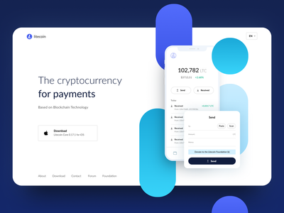 Litecoin ethereum button design blue and white blue minimalist donate receive send payments landingpage web landing ethworks blockchain crypto wallet litecoin