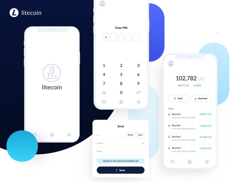 Litecoin wallet history send scan received enter litecoin ethworks mobile ui icon minimal ux crypto blockchain app button landing design