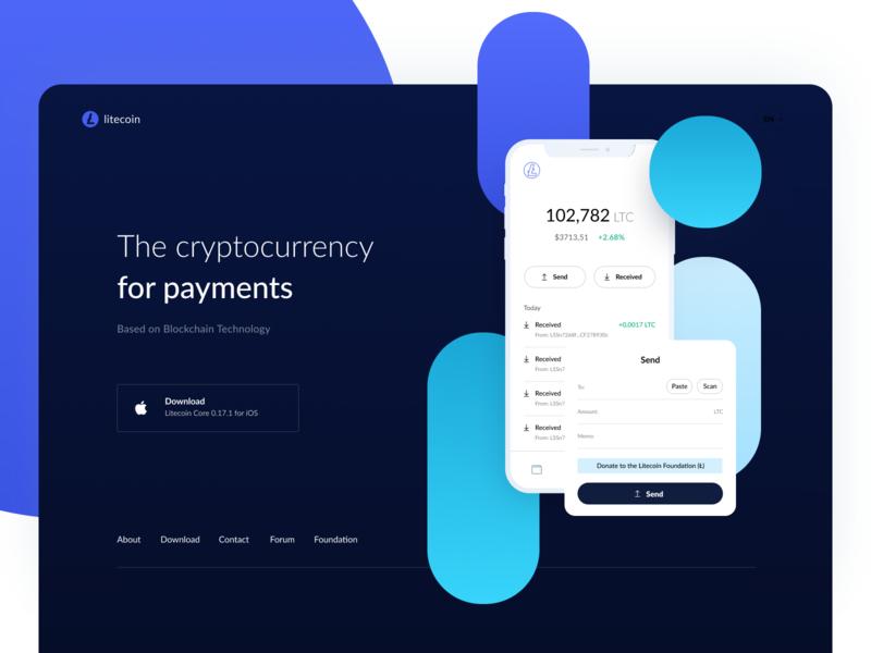 Litecoin Dark version history payment send scan receive donate ethworks litecoin wallet payments ui vector minimal ux ethereum crypto blockchain app landing design