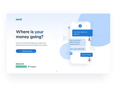 Amal AI bot homepage minimal ux page illustration app button landing web ui design