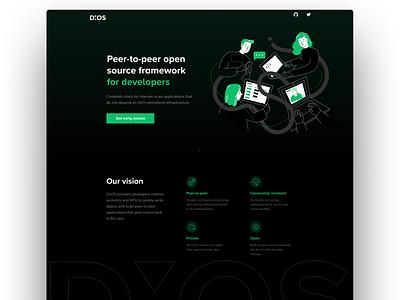 DXOS Landing page ui web button minimal crypto ethereum blockchain landing illustration design