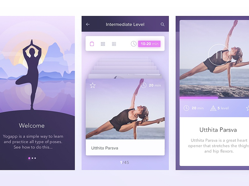 Yoga iOS app filters navigation slider modal play iphone ios mobile app walkthrough