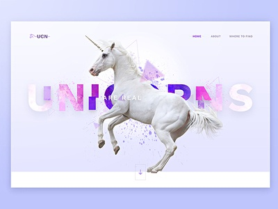Unicorn- don't take it too seriously about typo scroll page home navigation minimal design landing