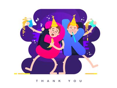 3k - Let's party!  drunk celebrate number letter thanks vector colors party 3000 illustration