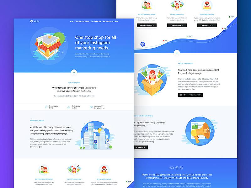Vibbi header graphic logo home button illustration design web page landing