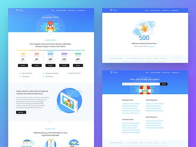Vibbi - subpages pricing button illustration search support 500 website landing inner page