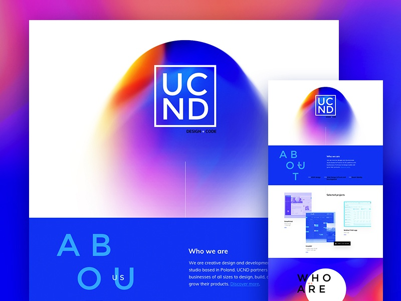Home page (WIP) services work about blue landing page home gradient trend 2017