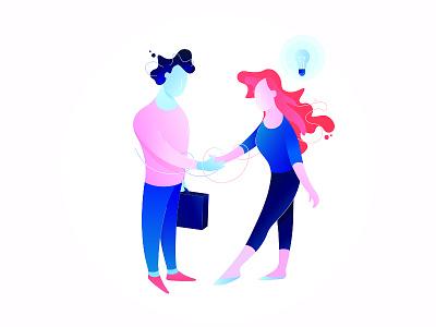 💯 Business Illustration  graphic design gradient icon idea handshake business illustration