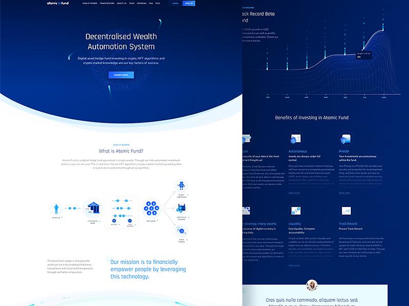 AtomicFund - Landing Page system ethereum blockchain ui homepage design landing fund atomic