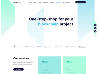 EthWorks - New website animation principle web crypto branding ethereum blockchain landing ui design