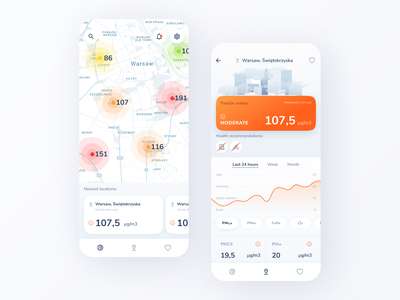 Smog app ethworks menubar button vector illustration range graphic mobile air smog app ui design
