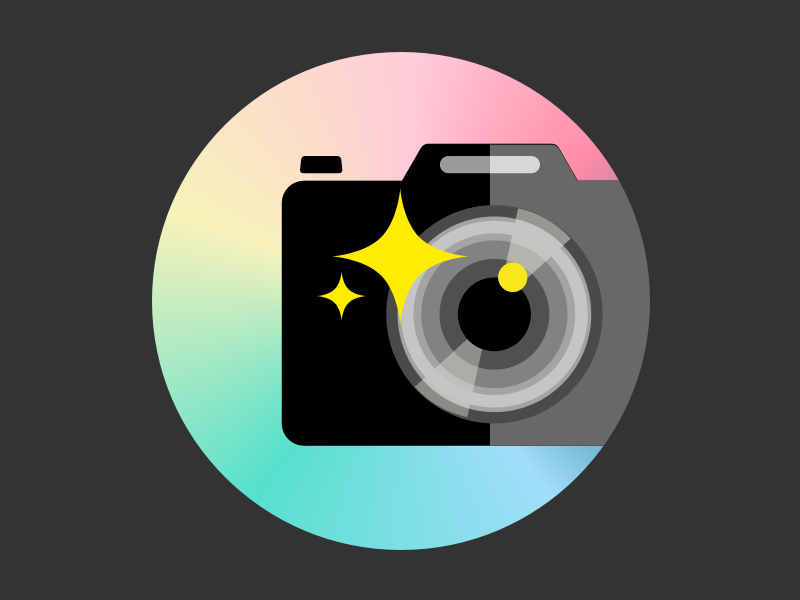 Glitter Camera Icon flat glitter photography camera app logo icon