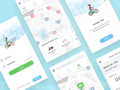 Grid View ux ui mobile user interface pin point maps ios bike