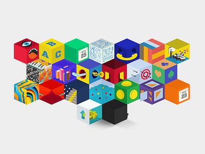 Set of Cubes illustration design icon