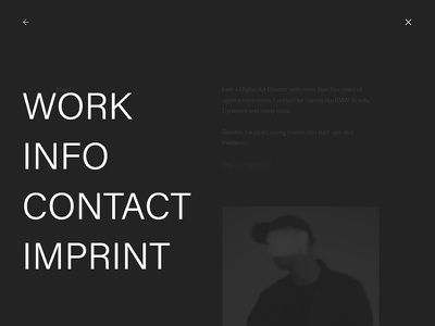 Personal Website WIP interaction navigation contrast typography dark minimal ui webdesign wordpress website portfolio personal