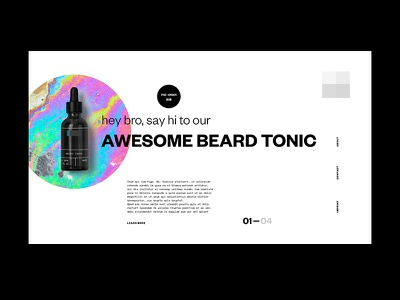 Cosmetics for men oil beard fluids white black typography minimal landing page cosmetics