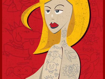 Blonde tattooed - illustration