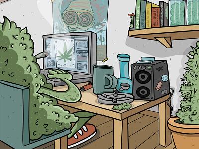 Life of a pothead - Home Office home office design studio concept art sketch illustrator vector illustration