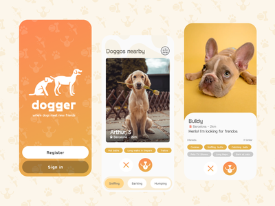 Dogger - Tinder for dogs concept fun pets doggos dogs concept ux dating app tinder mobile ui