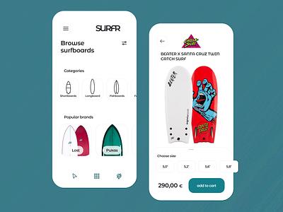 Surfing App Concept - shop section coach mobile design learning e-commerce uiux ui mobile interface online shop mobile surf sport action sport beach waves app summer