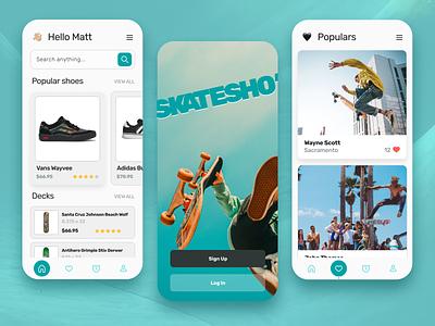 Skate App Concept e-commerce web shop shop ecommerce sport action sport photography skateboard deck skater skate layout app mobile app product design mobile interface mobile uiux ui