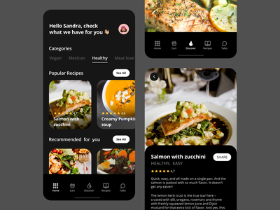 Recipes App Concept coach learn salmon healthy food health recipe food android ios app design app product design uiux ux ui mobile interface mobile ui mobile