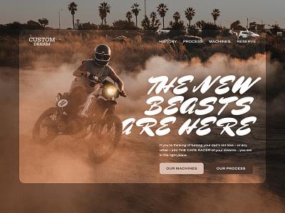 Custom Motorbikes Landing Concept art direction ecommerce responsive web ui design motor cafe racer motorbikes layout landing page creative landing web design uiux ui