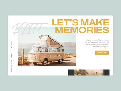 Travel Blog Concept travel blog post article ux ui layout responsive car trip van car travel blog web design web