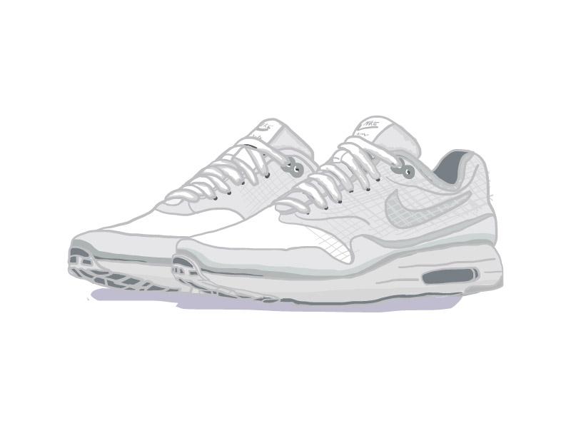 the latest 1dacc 47541 Nike Air Max Zero White Pure vector sneakerhead illustration icon