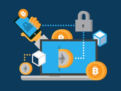 Blockchain illustration cryptocurrency bitcoin vector illustrator fintech ui icons illustration