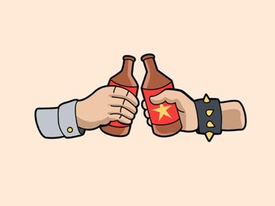 Friendship punk beer tattoo style tattoo icon vector cheers illustration friendship