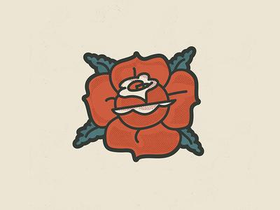 Rose illustration halftone textures classic rose skull illustrator vector sticker tattoo illustration