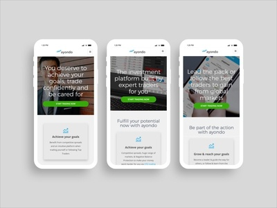 ayondo new corporate site - mobile view mobile trading webdesign fintech ux ui