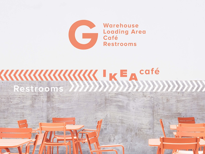 IKEA Signage scandinavian swedish visual identity branding warehouse rebranding ikea way finding environment exhibition design wayfinding signage