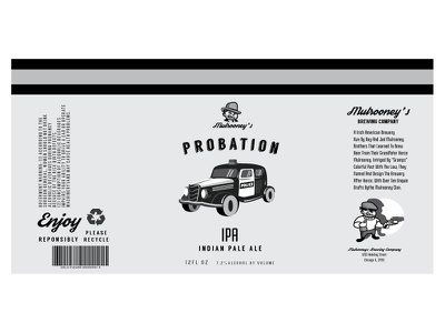 Mulrooney's/Probation Beer Label logo packaging branding illustration vintage vector beer design