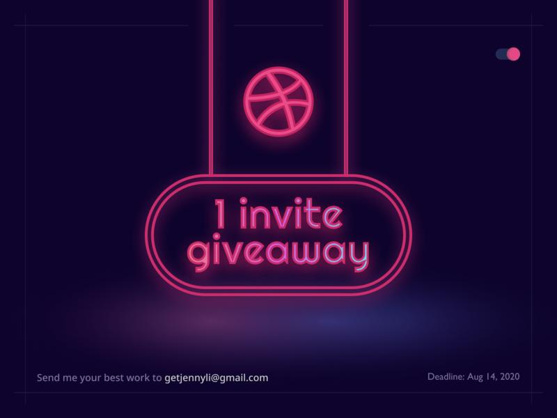 Dribbble Invite Giveaway dribbble invitation dribbble invite design clean minimal dribbble invitation invite giveaway neon