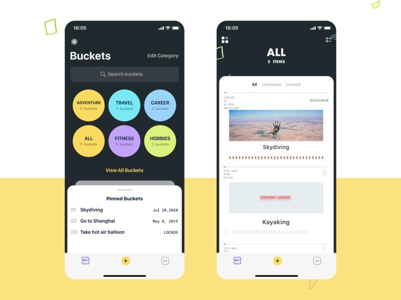Bucket List Exploration category lists list design interface clean app ui mobile bucket list bucketlist bucket