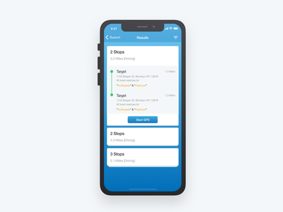 Search Results UI mobile iphone x ios interface gradient ui search result